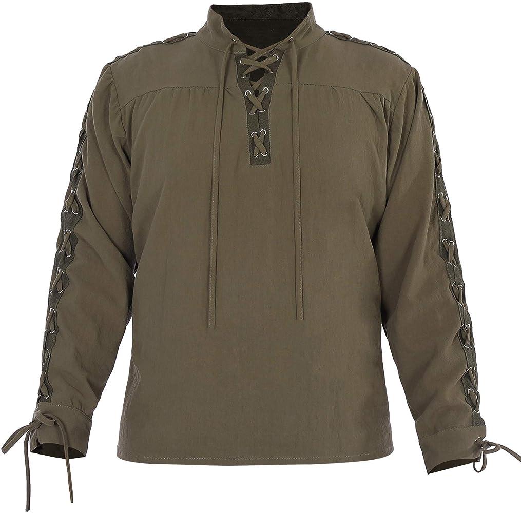 WISHU Camisa de Pirata para Hombre, Disfraz de Halloween de Renacimiento Medieval, Retro, Guerrero, Cosplay, Blusa de Encaje - Verde - XX-Large: Amazon.es: Ropa y accesorios