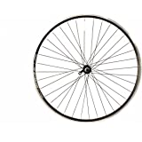 Wilkinson Front Wheel 36 Hole Hybrid Black Double Wall Rim, V-Brake, Quick Release AX-Largee Hub, Black Spokes - 700C, Black