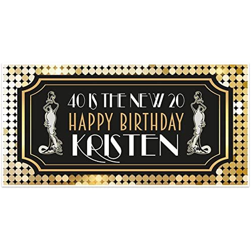 Art Deco Happy Birthday Banner Personalized Party Backdrop