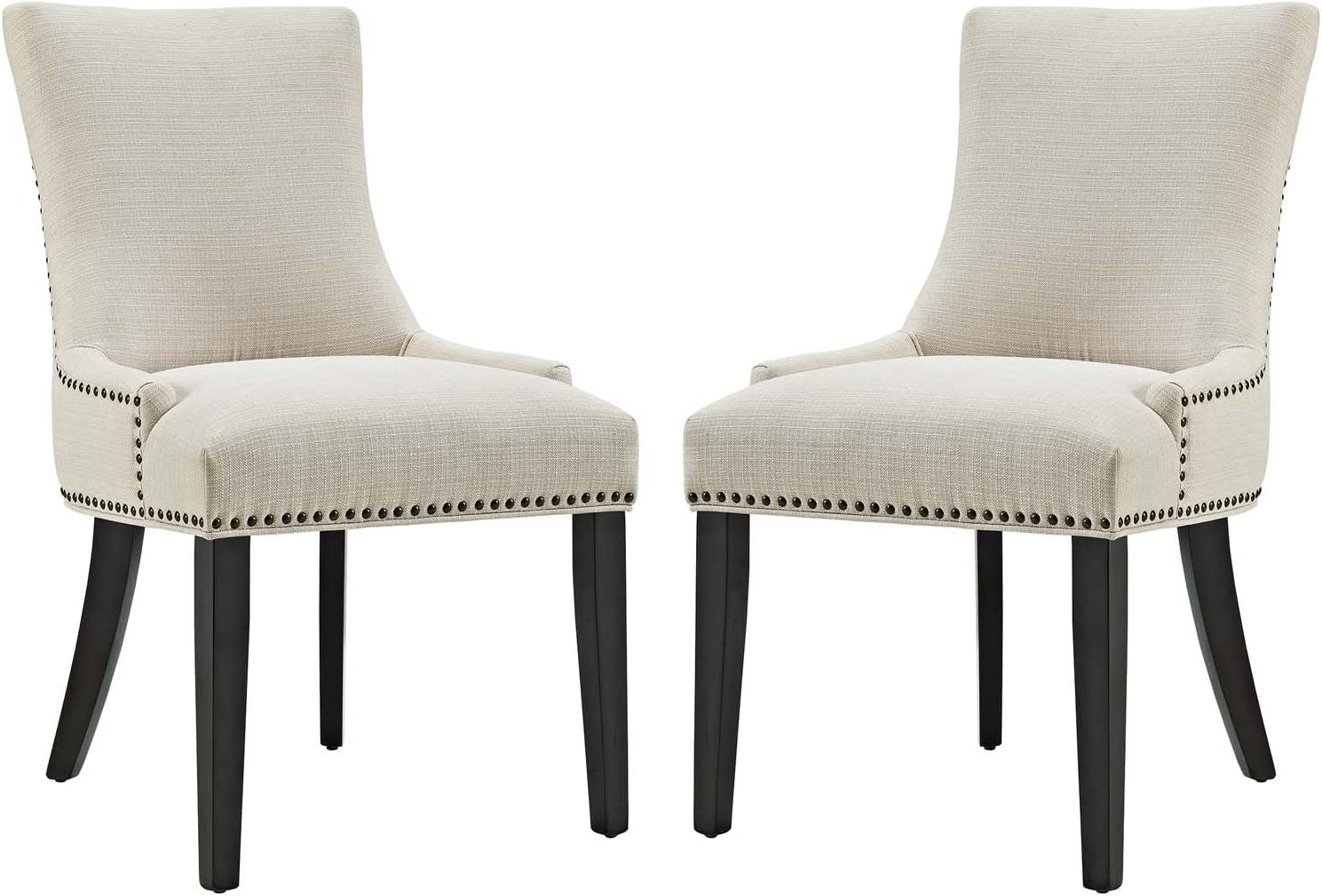 Modway Marquis Modern Elegant Upholstered Fabric Parsons Dining Side Chair With Nailhead Trim And Wood Legs, Set of 2, Beige