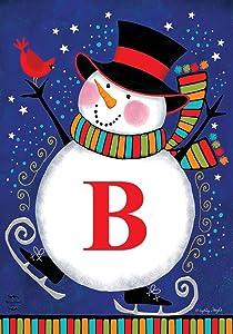 "Briarwood Lane Winter Snowman Monogram Letter B Garden Flag 12.5"" x 18"""
