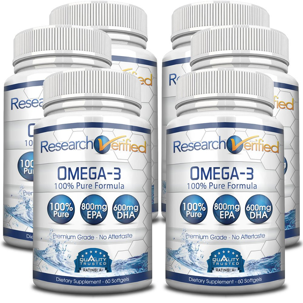 Research Verified Omega 3 - Omega 3 Fish Oil - 100% Pure Premium Omega Fatty Acids - High EPA 800mg + DHA 600MG; no Aftertaste - 1500mg Softgel Capsules, 6 Bottles (6 Months Supply)
