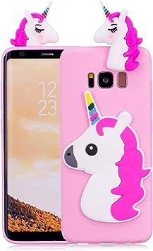 Funluna Funda Samsung Galaxy S8 Plus, 3D Unicornio Silicona Dibujo Animado Suave Case Cover Protección Cáscara Soft Gel TPU Carcasa para Samsung Galaxy S8 Plus, Rose: Amazon.es: Electrónica