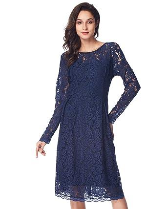 Vestidos de noche azul encaje