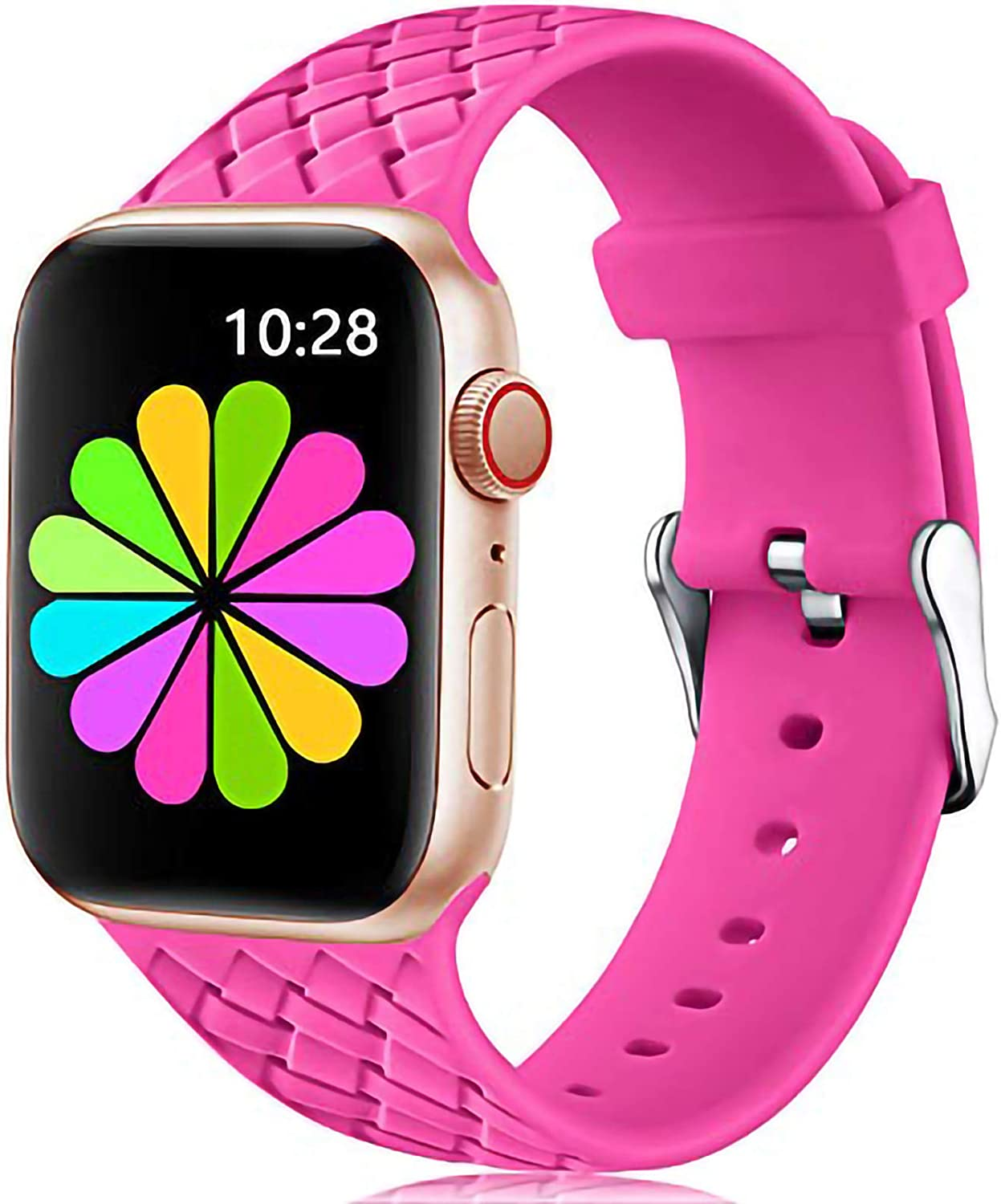 Haveda Compatible for Apple Watch SE, iWatch 40mm 38mm 42mm 44mm Band, Soft Cute Silicone Band for Apple Watch Series 6/5/4/3/2/1, Comfortable Flexible Textured Weave Pattern Wristband Small Large