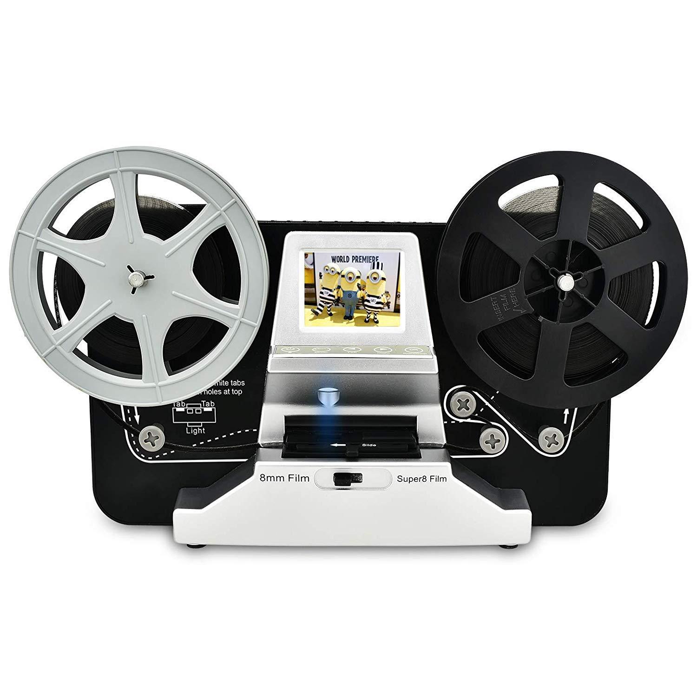8mm & Super 8 Reels to Digital MovieMaker Film Sanner,Pro Film Digitizer Machine with 2.4'' LCD, Black (Film 2 Digital Movie Maker&8mm Film Scanner) with 32 GB SD Card by eyesen (Image #1)