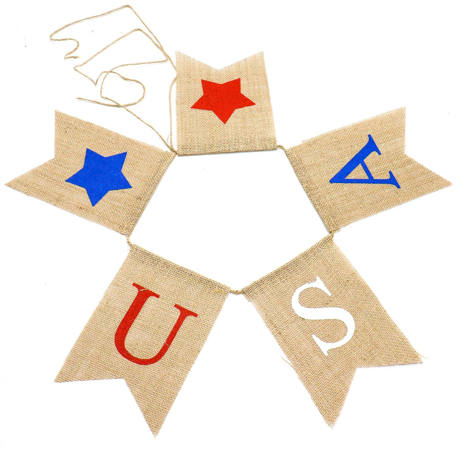 Buorsa USA Burlap Banner Decor for Independence Day Memorial Day Veterans Day