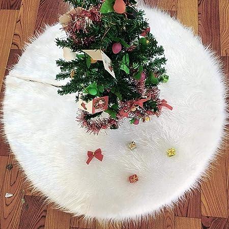 Jupe de Sapin No/ël Couvre Pied de Arbre Fourure Peluche Neige Blanc D/écorations No/ël 90 cm