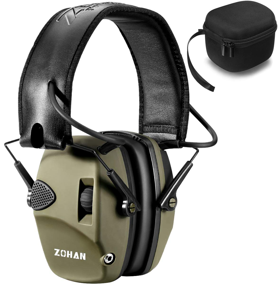 Electronic Shooting Ear Protection Muff | ZOHAN Sound Amplification Noise Reduction Hunting Earmuff - NRR 22dB -OD Green with Case by ZOHAN
