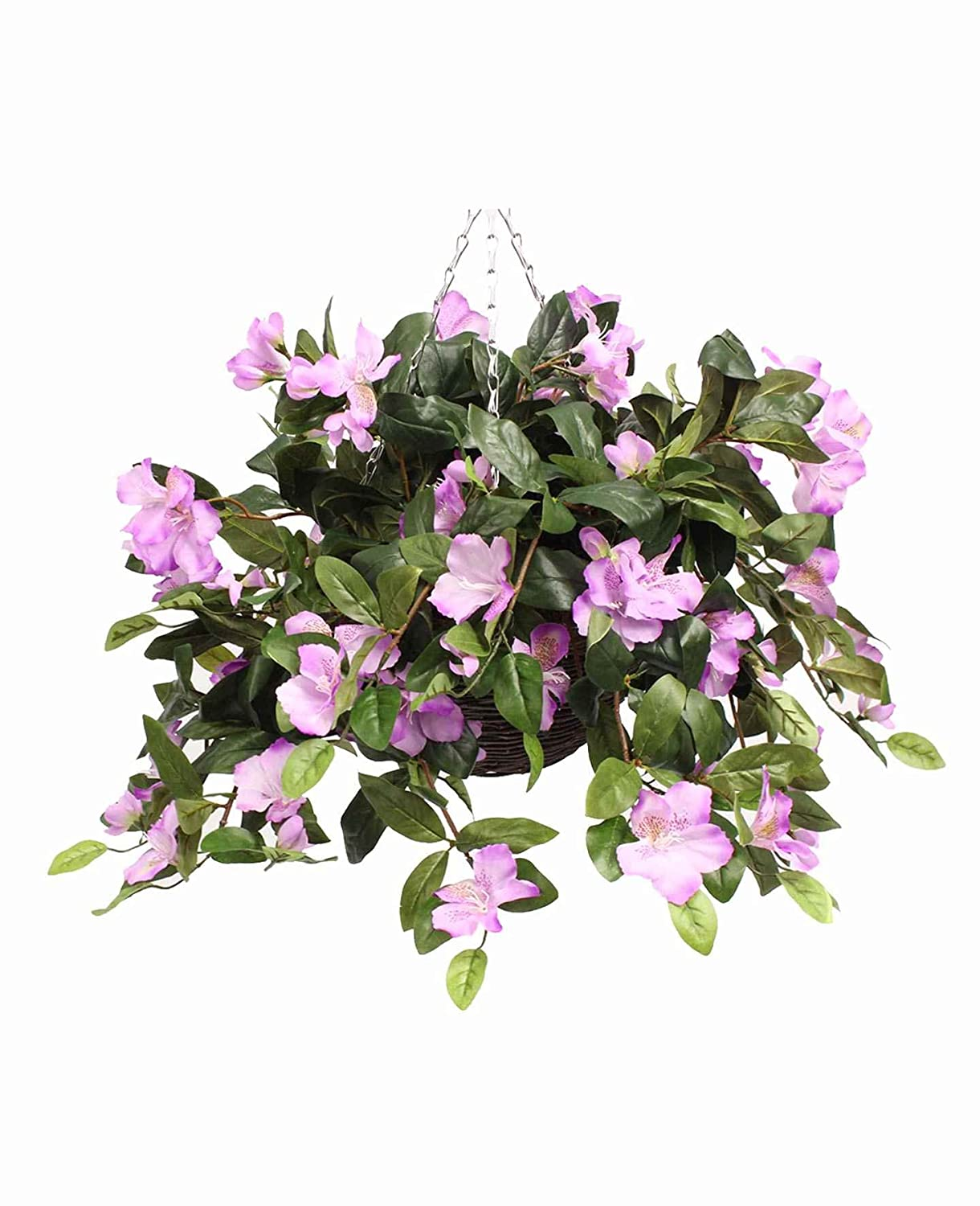 Artificial Rhododendron Hanging Basket - Various Colours Available (Cream) Blooming Artificial