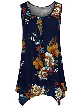 6a651892ed Miusey Womens Floral Sleeveless Flowy Loose Cami Tunic Tank Tops ...