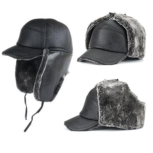 SUKEQ Men Winter Warm Tropper Trapper Aviator Hat Outdoor Wool Warm Ushanka  Style Ear Flap Hat 0902b09195f