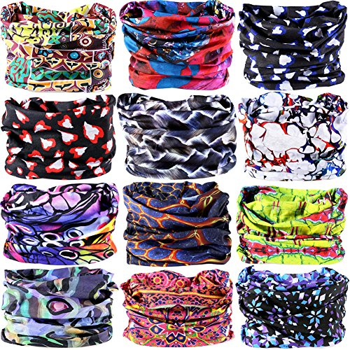 (16-in-1 12PCS/8PCS/6PCS Multifunctional Headwear Yoga Sports Stretchable Casual Headband Seamless Uv Solid Moisture Neckwarmer Headwrap Mask Bandana Scarf (12PCS-Big RED))