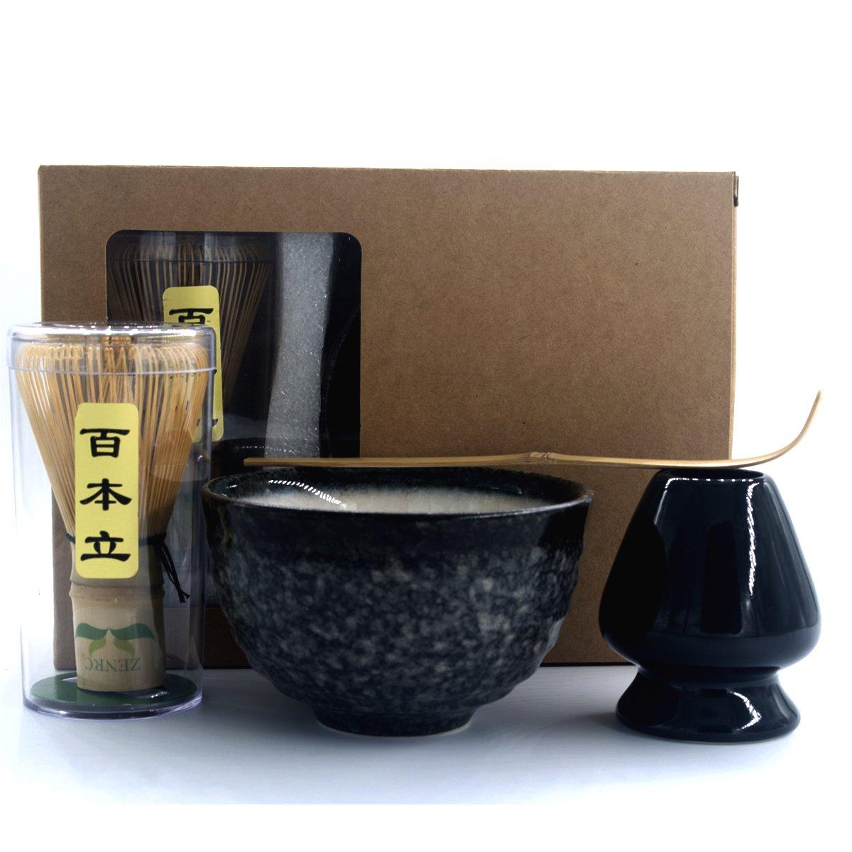 Complete Start Up Matcha Tea Kit - Retro Japanese Natural Bamboo Matcha Whisk ( Chasen ) - Scoop - Matcha Bowl - Whisk Holder - Ceremony Matcha tea Sets (Black cloud, 4 PCS)