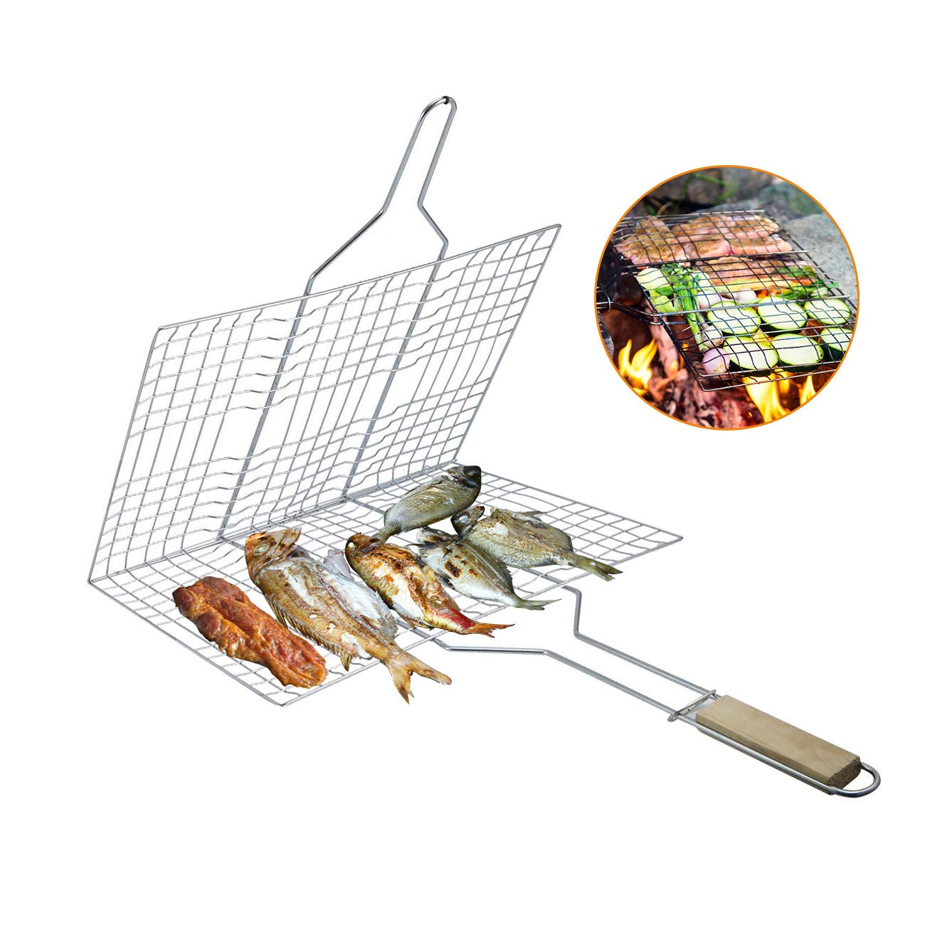 BEAMNOVA Large 13x8 Barbeque Grill Basket with Handle Stainless Steel Mesh Portable for Outdoor Camping Vegetables Burgers Fish Shrimp Steaks