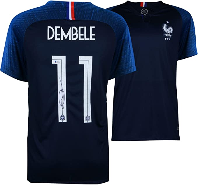 best cheap ade3a eaa01 Ousmane Dembele France Autographed Nike Navy Jersey ...