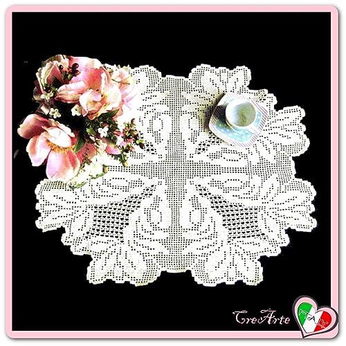 Rechteckige Antikes Weiß Häkeln Filet Deckchen Aus Baumwolle Größe
