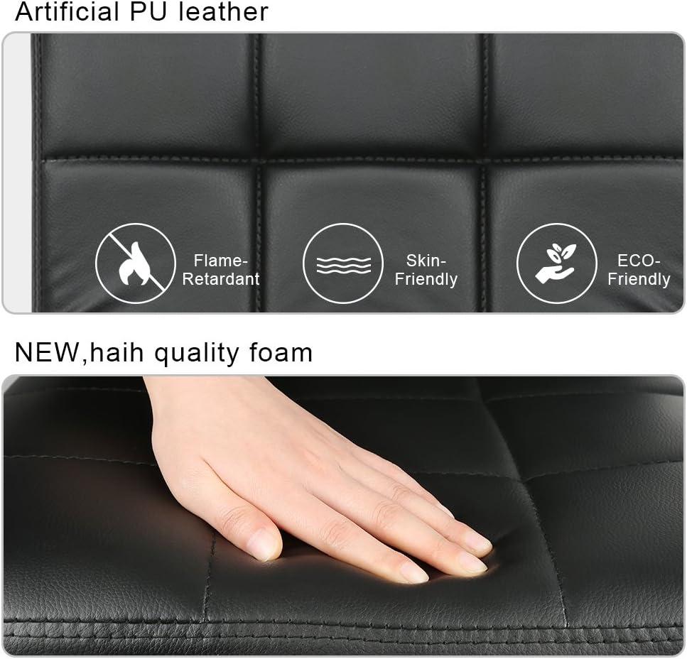 WeFun 2 x Sgabelli da Bar Altezza Regolabile,Leatherette con Schienale e Poggiapiedi 2 Sgabelli//Bianco
