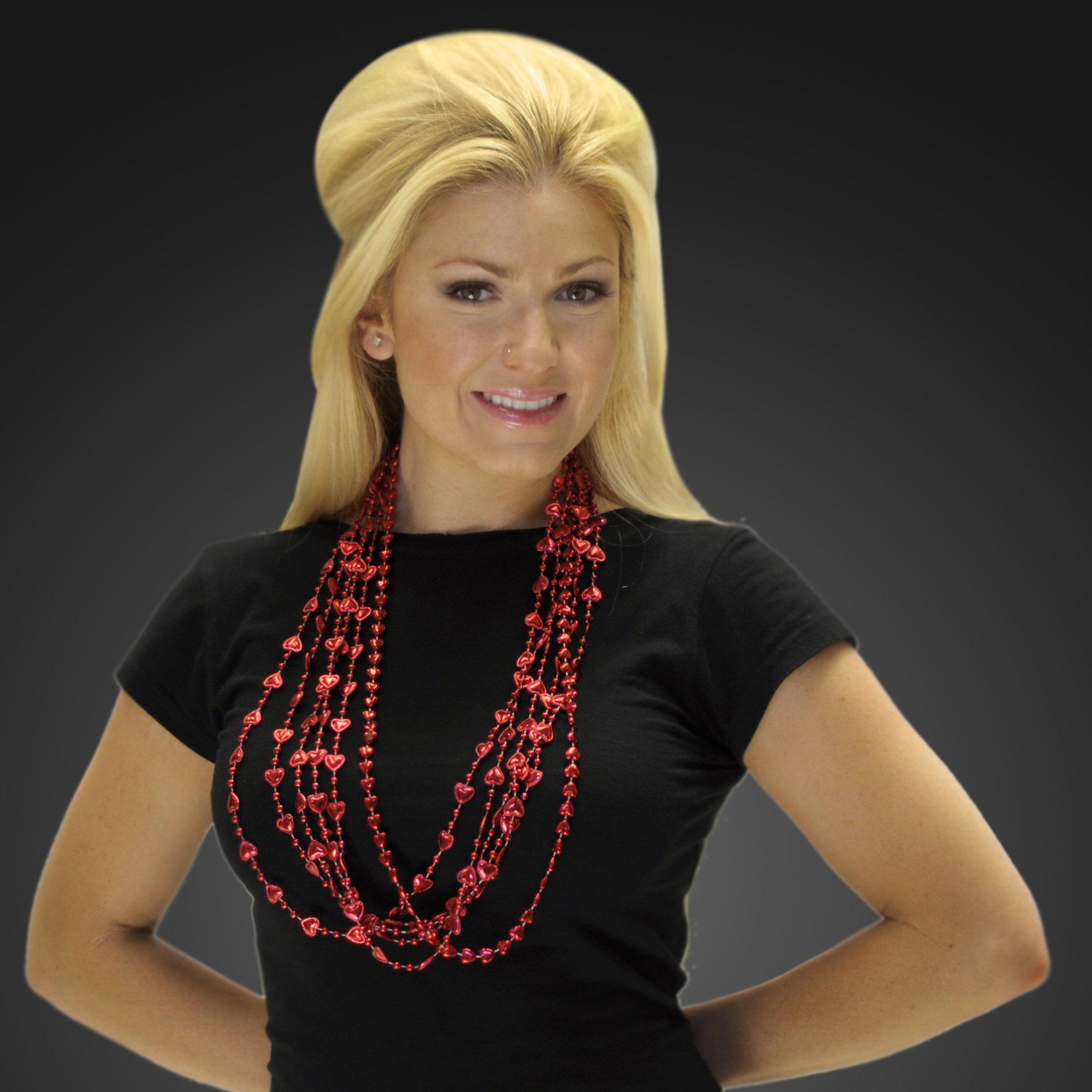 FlashingBlinkyLights Red Heart Mardi Gras Bead Necklaces (Set of 48)