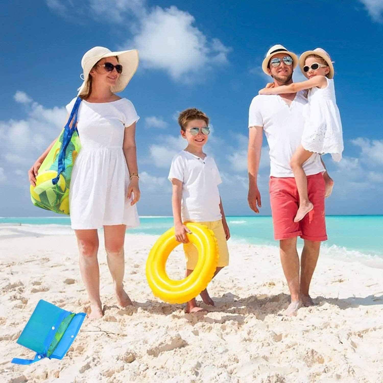 DN Borsa Grande per Spiaggia,La Borsa Spiaggia da Rete Anti-Sabbia in Tessuto a Rete Pieghevole e Riutilizzabile per da Bambino
