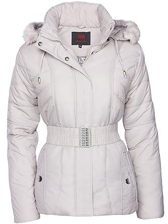 OHH Fashion Damen Winter Jacke STEPP DAUNEN Optik Fell Kapuze Skijacke KURZ Mantel