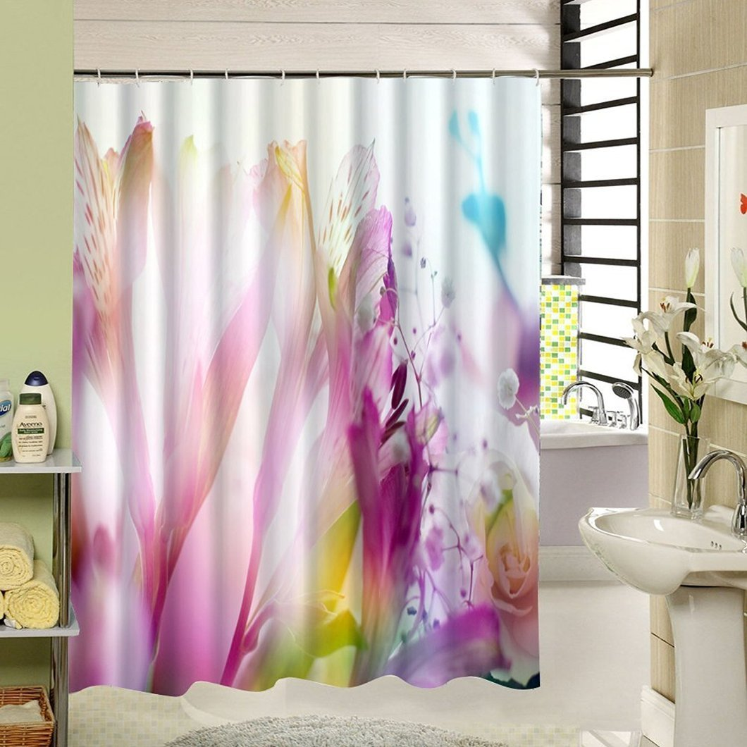 Amazon SeaCloud Pink And Purple Abstract Floral Theme Shower Curtains Waterproof Set For Modern Bathroom Picture Print Art 72x78 Inch Clothing