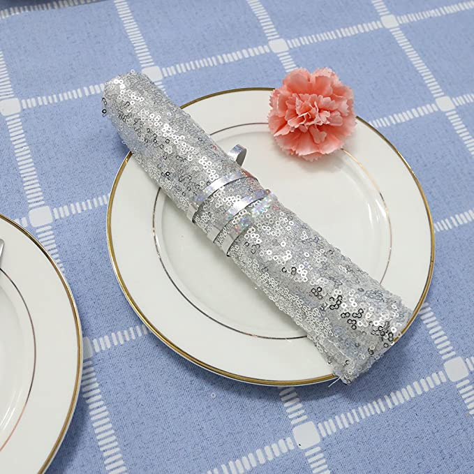 TRLYC 5pcs 20X20 Gold Sequin Napkins for Wedding Party Restaurant Holiday Dinner Decorations