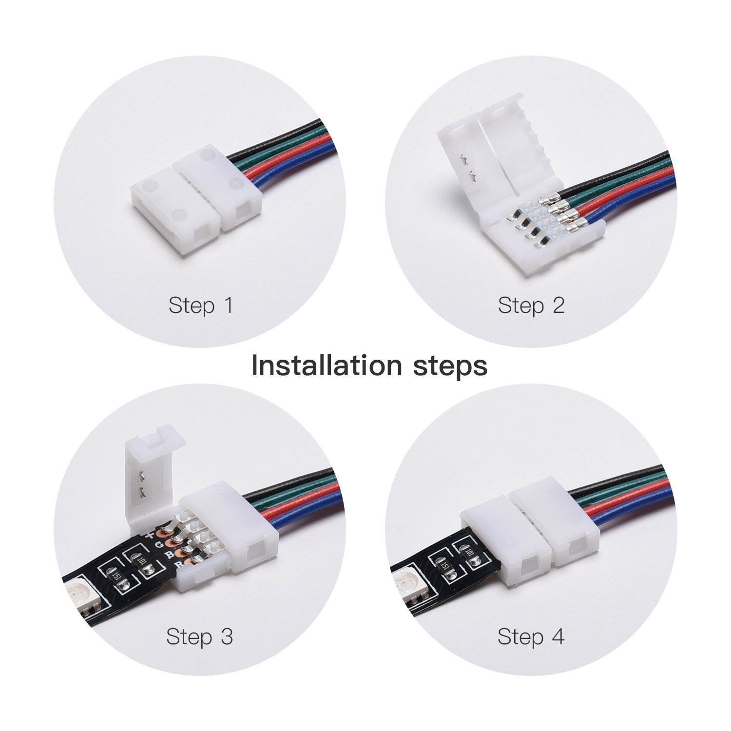 Jackyled Rgb 5050 3528 Led Light Strip Connector 4 Pins 10 Mm Wide Pcs Pin Male Female With Wire For To Jumper Pack Solderless