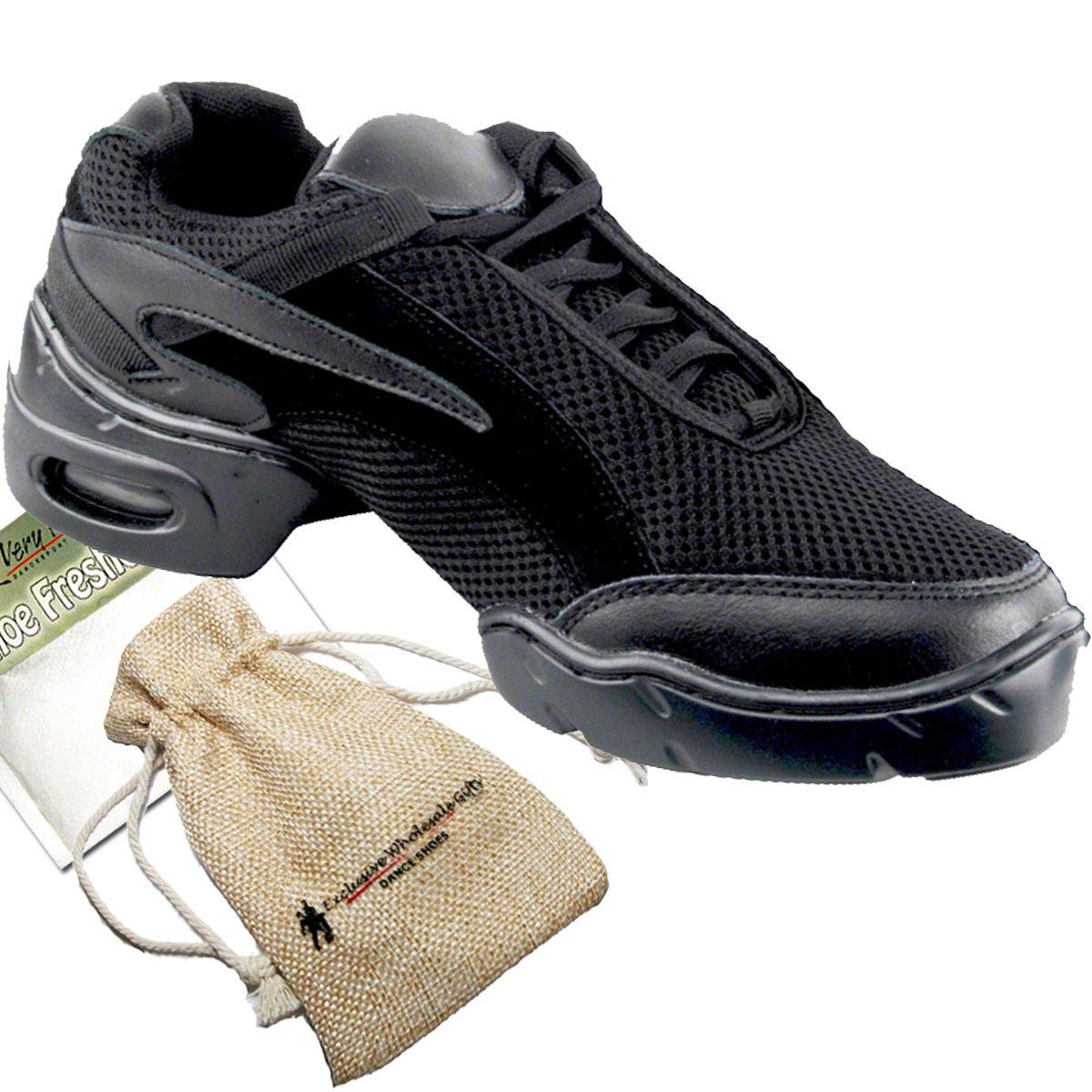 Bundle- 4 items - Very Fine Mens Womens Unisex Practice Dance Sneaker Split Sole VFSN008 Pouch Bag Sachet, Black 13 M US by Very Fine Dance Shoes (Image #1)