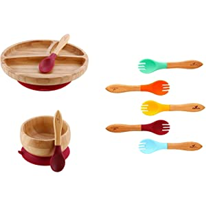 Avanchy Baby Toddler Feeding Bamboo Plate + Bowl + Forks + Spoons - Stay Put Suction Divided Plates. Gift Set Magenta