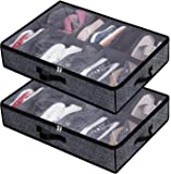 Under Bed Shoe Storage Organizer for Closet,Shoe Container Box Bedding Storage with Clear Cover(24 Pairs) Set of 2 Black…