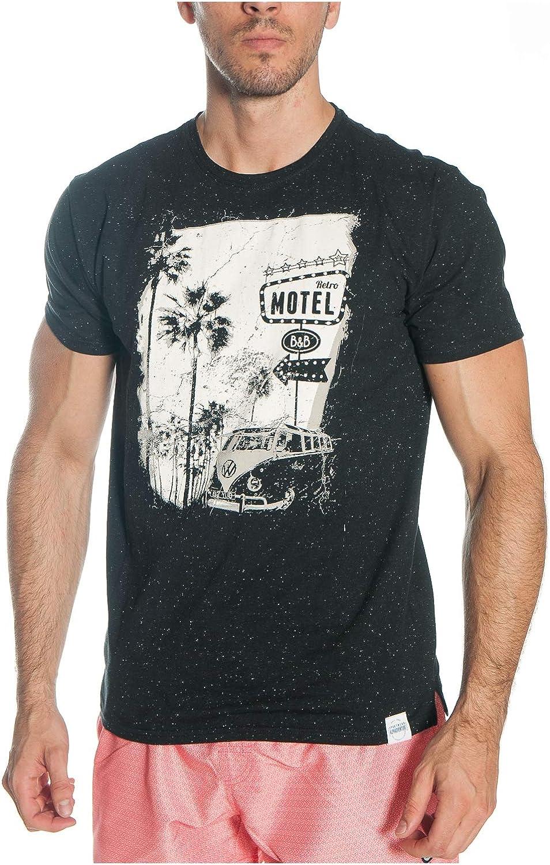 ALPHADVENTURE Camiseta Negra De Manga Corta Forby con Dibujo Retro para Hombre: Amazon.es: Ropa y accesorios