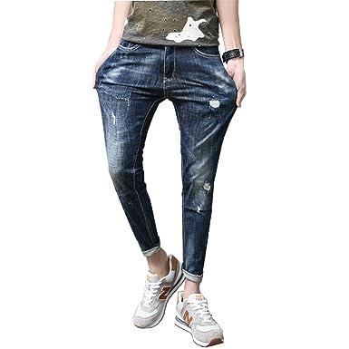 ffaf2a54c336 Zcaosma Men Jeans Stretch Destroyed Ripped Design Fashion Ankle Zipper Slim  Summer Skinny Jeans for Men