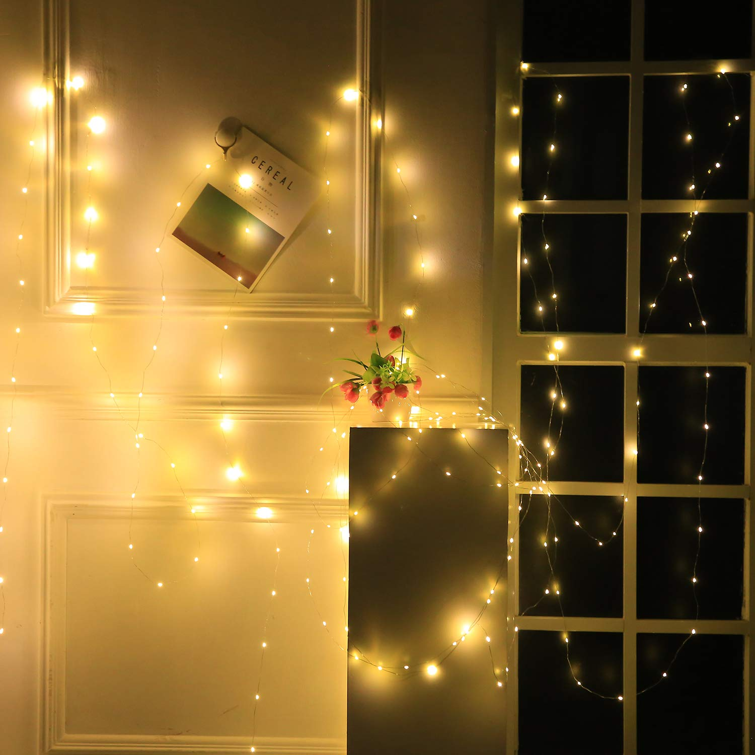 200 LED Bendable Copper Wire Lights, 8 Modes 66ft Fairy Starry Lights with USB Port and BS Plug in for Wedding Christmas Party Bedroom Indoor Outdoor Decorative (Warm White) OMGAI