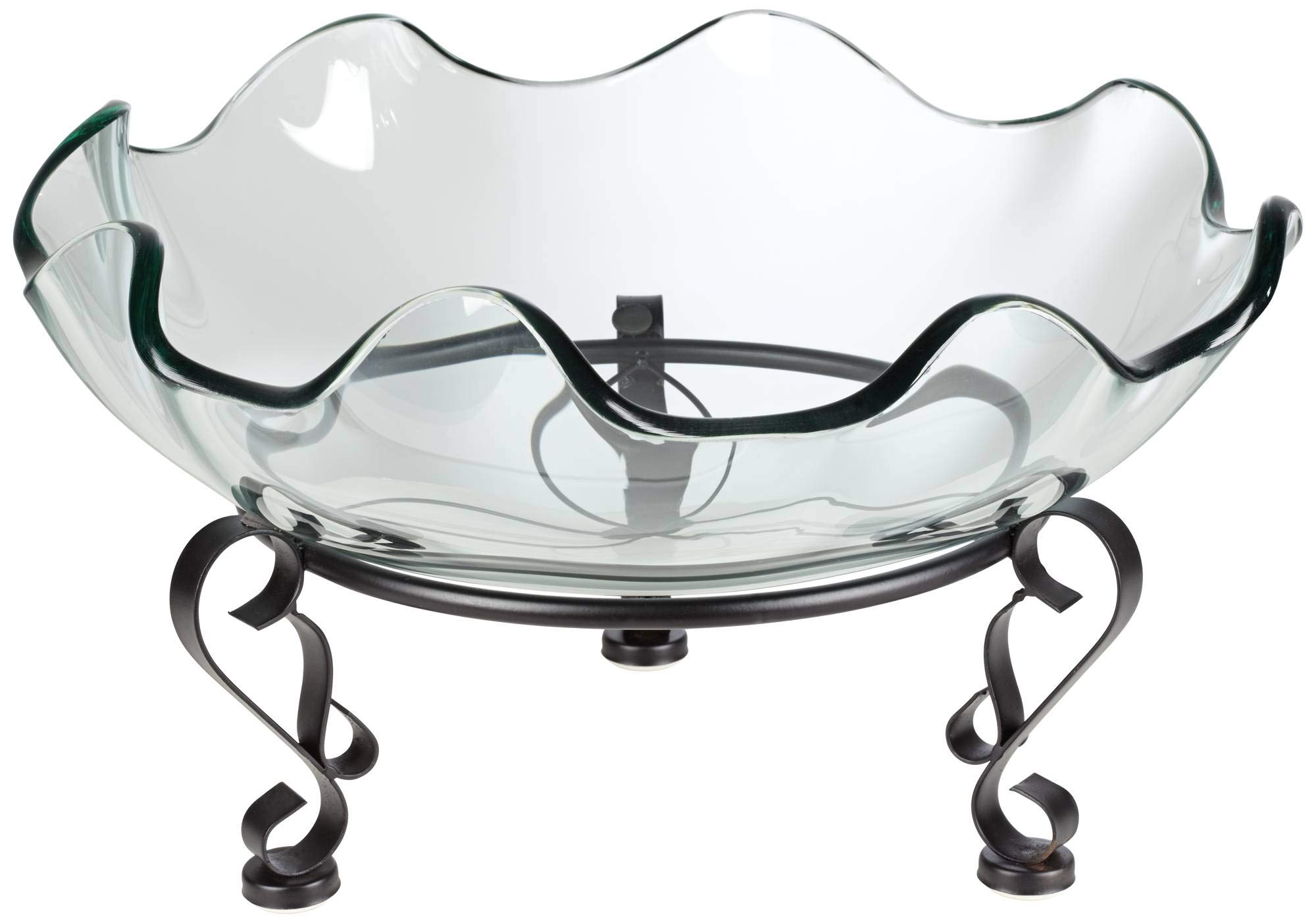 Kensington Hill Iron Scroll Stand with Ruffle Glass Bowl