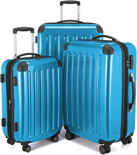 HAUPTSTADTKOFFER Luggages Sets Glossy Suitcase Sets Hardside Spinner Trolley Expandable 20 , 24 28 TSA Cyan blue