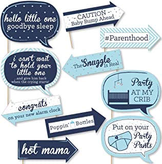 product image for Big Dot of Happiness Funny Blue and Silver - Hello Little One - Boy Baby Shower Photo Booth Props Kit - 10 Piece