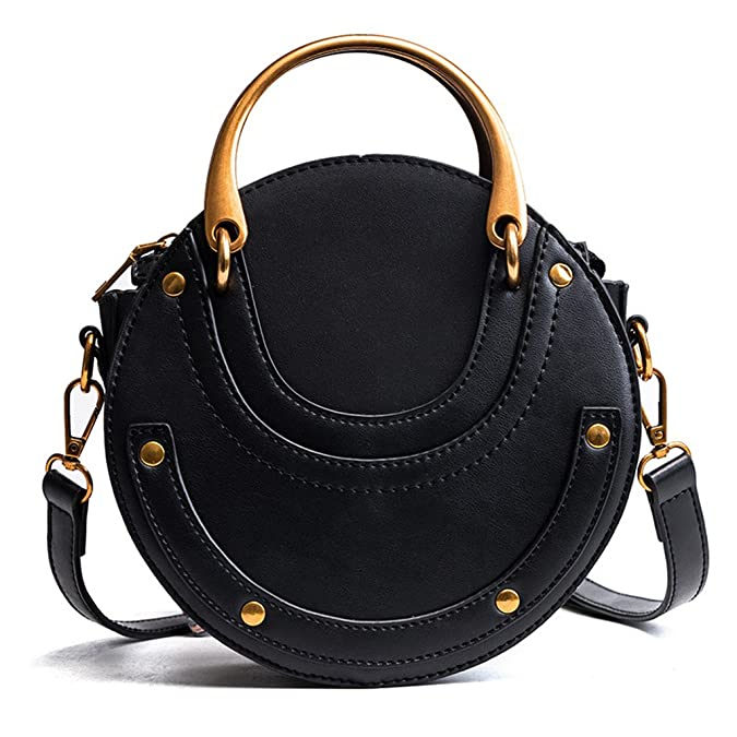 Yeahii Round Vintage Metal Arrivals Circular Calf Pu Leather Handbag Retro Metal Small Round Mini Bag by Amazon