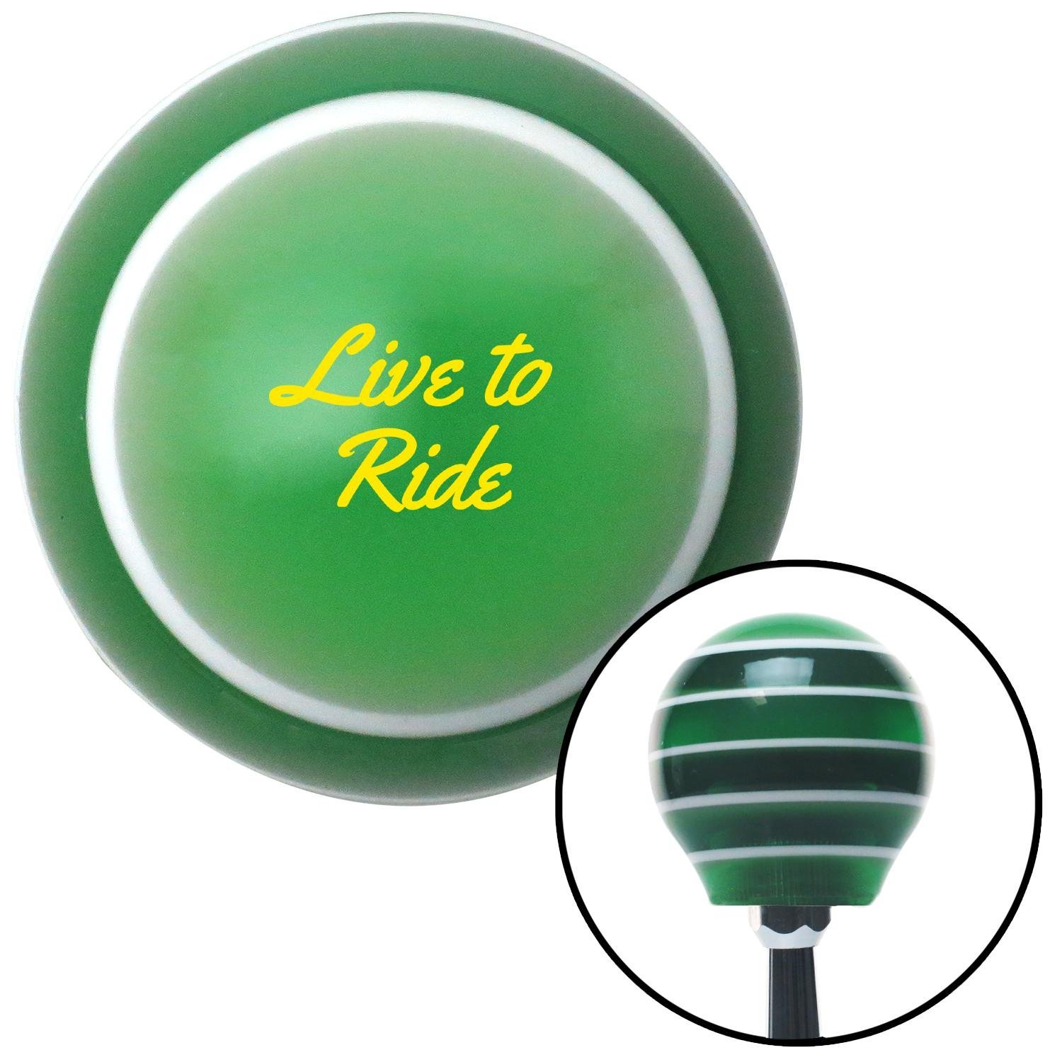 American Shifter 275089 Shift Knob Yellow Live to Ride Green Stripe with M16 x 1.5 Insert