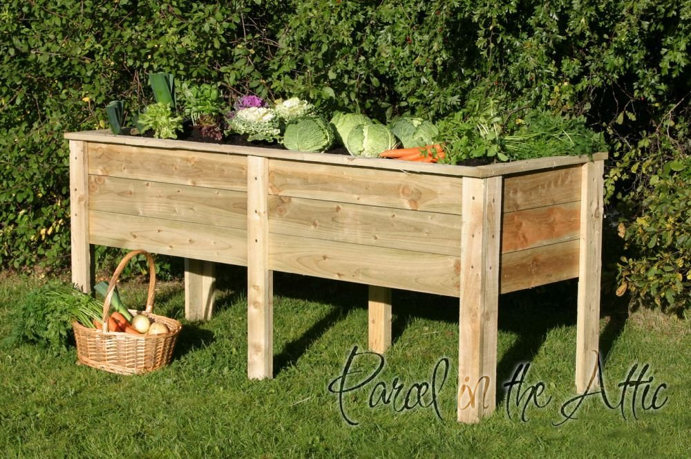 Large Garden Wooden Raised Bed Vegetable Trough Planter (Deep Root Planter 1m) Parcel in the Attic