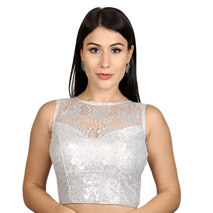 cbc0106e67b19f Rinkoo Womens Designer High Neck Dupion silk Full Net Padded Princess Cut  Sleeveless Readymade Saree Blouse (R004)  Amazon.in  Clothing   Accessories
