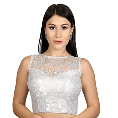 2bda127bfc479f Rinkoo & Neckbook Womens Designer High Neck Dupion silk Full Net Padded Princess  Cut Sleeveless Readymade Saree Blouse (R004): Amazon.in: Clothing & ...