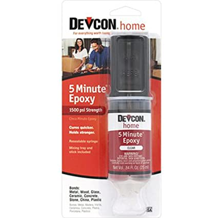 Devcon Home 20845 Clear Waterproof 5 Minute S208 Epoxy Glue Adhesive