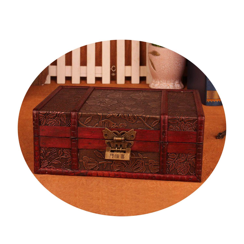 Collocation-Online Vintage Metal Lock Desktop Storage Jewelry Box Cases Wooden Pirate Treasure Chest Manual,Lotus