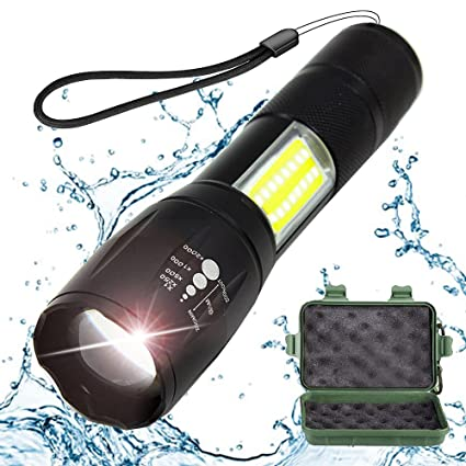 Tactical Flashlight with COB Light - Portable, Zoomable, Water & Shock Resistant, LED