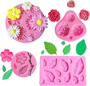 Flower Fondant Cake Molds, 4Pcs Mini Flower Silicone Molds Roses Flower, Daisy Flower,Peach Flower and Leaf molds, Candy Molds Set for Chocolate Fondant Clay Soap Crafting & Cake Decoration