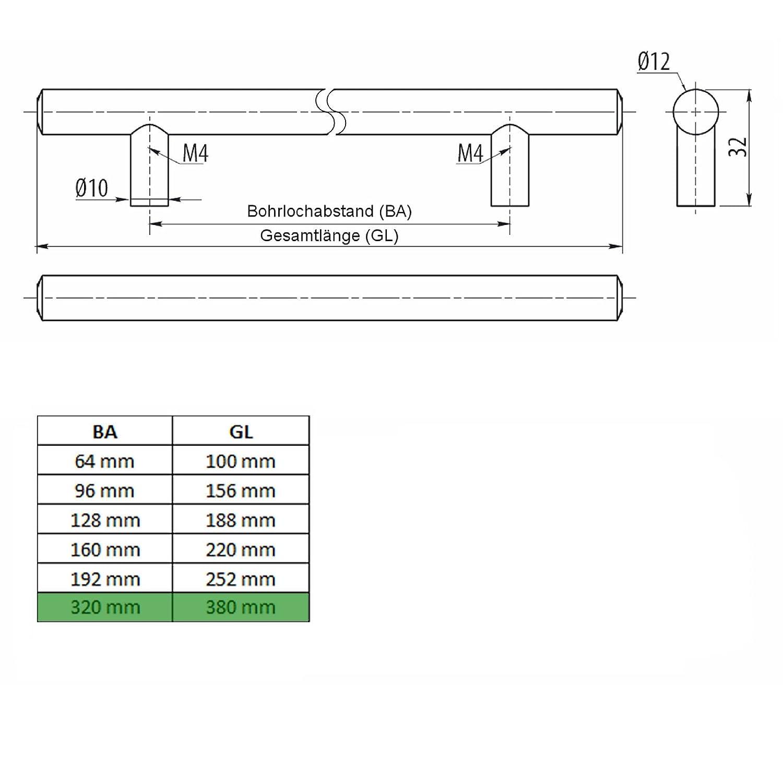 SO-TECH G6 Maniglia della mobilia Maniglia asta barra acciaio inox distanza dei fori 224 mm /Ø 12 mm