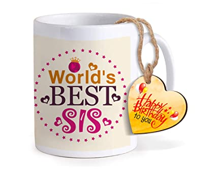 TIED RIBBONS Birthday Gift For Sister Printed Coffee Mug With Wooden Tag