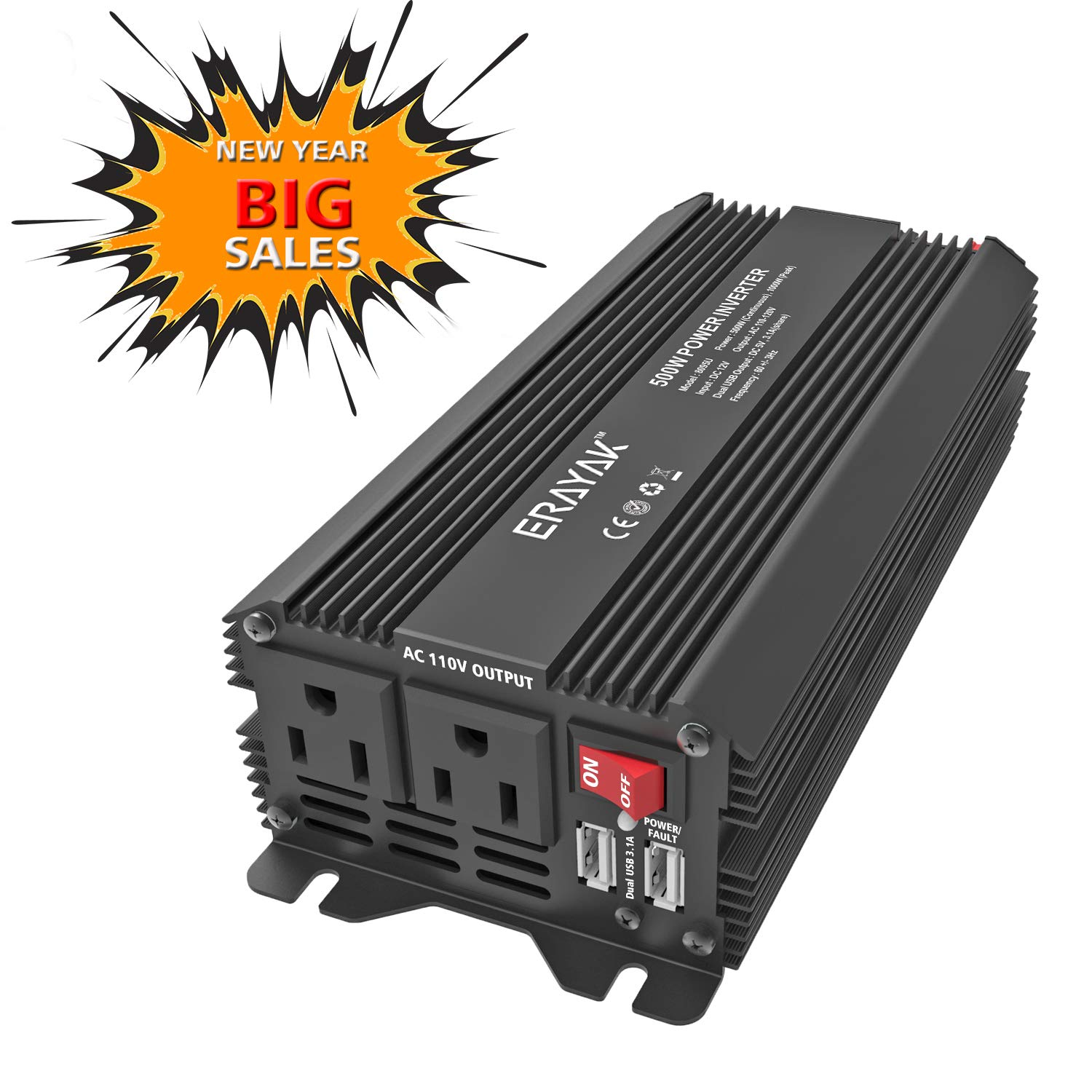 Erayak 500w Power Inverter Dc12v To Ac110v With 31a Circuit Board Attached A Small Piezo Speaker And Powered By Two Aa Dual Usb Charging Ports Car Adapter Automotive