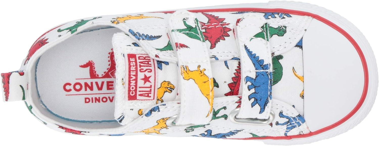 Converse Baskets imprimé Blanc Dinosaure Basses à Scratch en Toile bébé Fille